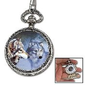 Pocket Watch & Chain - Wild Wolf
