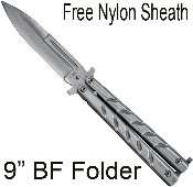 Silver Stiletto Blade Butterfly Knife with Clip & Case