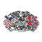 American & Confederate Flag Belt Buckle