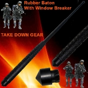 "21"" Steel Self Defense Police Baton w/ Window Breaker"
