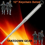 "12"" Expandable Keychain Steel Self Defense Baton - Silver"
