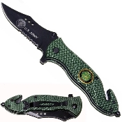 Scimitar Green Army Knife Spring Assisted Pocket Knives