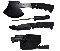 3Pc Black Hunting Knives Camping Skinning Knife Set Hatchet and Case