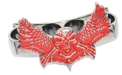 """Winged Dragon"" Brass Knuckles - Silver & Red"