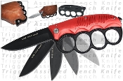 Trench Knife - Extreme Spring Assisted w/ Knuckles - Red Handle