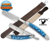 Sky Blue Handle Folding Shaving Straight Razor & Leather Strop