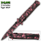 Pink Zombie Skulls Stiletto Pocket Knife Assisted Opening