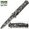 Silver Zombie Skulls Stiletto Pocket Knife Assisted Opening