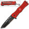 Red Fire Fighter Tanto Blade Rescue Pocket Knife Assisted Open