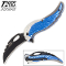 Blue Skull Angel Biker's Pocket Knife Spring Assisted Opening