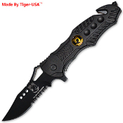 Black POW MIA Rescue Pocket Knife Spring Assisted Opening