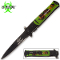 Green Handle Zombie Slayer Stiletto Pocket Knife Assisted Open
