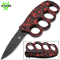 Red Skulls Handle Spring Assisted Open Trench Knife & Knuckles