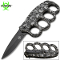 Silver Skulls Handle Spring Assisted Open Trench Knife & Knuckles