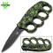 Green Skulls Handle Spring Assisted Open Trench Knife & Knuckles