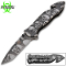 Assisted Opening Rescue Pocket Knife w/ Silver Skulls Handle