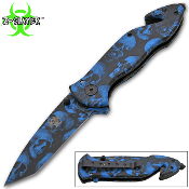 Assisted Opening Rescue Pocket Knife w/ Blue Skulls Handle