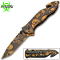 Assisted Opening Rescue Pocket Knife w/ Brown Skulls Handle