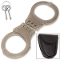 Silver Steel Hinged Handcuffs w/ Leather Belt Case