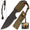 Olive Green Fire Starter Survival Knife w/ Belt Sheath