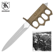 1918 WWI Gold Trench Knife w/ Spiked Knuckles