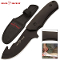 Red Deer Black Wood Handle Full Tang Hunting Knife & Belt Sheath