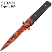 "7"" Italian Stiletto Spring Opening Knife Red Camo"
