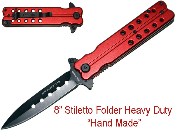 Red Handle Stiletto Spring Assisted Mock Butterfly Pocket Knife