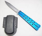 Blue Butterfly Knife Aluminum Handle with Belt Sheath