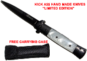 """Kick A$$"" Spring Assisted Opening Stiletto Pocket Knife - Pearl"