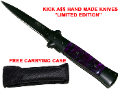 """Kick A$$"" Spring Assisted Opening Stiletto Pocket Knife - Purple"