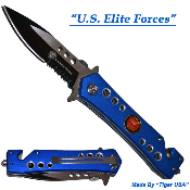 Blue Elite Forces Spring Opening Tactical Rescue Pocket Knife