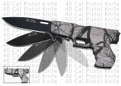.40 Cal Pistol Assisted Opening Pocket Knife - Forest Camo