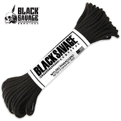 50 Ft Black Savage Survival Type III Commercial Paracord Rope