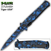 Blue Zombie Skulls Stiletto Pocket Knife Assisted Opening