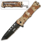 Desert Camo ARMY Tanto Blade Rescue Pocket Knife Assisted Open