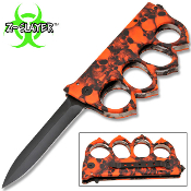 Red Skulls Zombie Slayer Spiked Knuckles Trench Pocket Knife