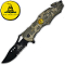 "Desert Camo ""Don't Tread on Me"" Rescue Pocket Knife Assist Open"