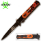 Orange Handle Zombie Slayer Stiletto Pocket Knife Assisted Open