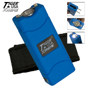 Blue 25 Million Volt Mini Stun Gun Built-In Charger LED & Case