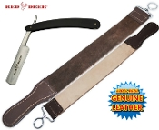 Black Handle Folding Shaving Straight Razor & Leather Strop