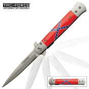 Confederate Flag Stiletto Pocket Knife Spring Assisted Opening