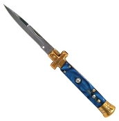 Blue Marble & Gold Switchblade Knife Automatic Opening Stiletto